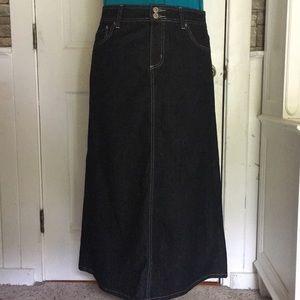 Like new Baccini long black denim maxi skirt